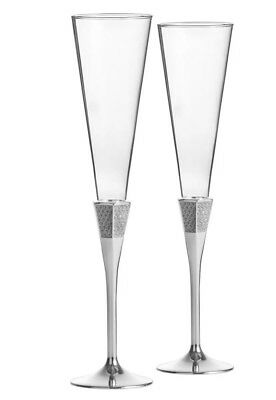 2 Waterford  Lismore Diamond Silver Toasting Champagne Flutes, 6 Oz.set of 2