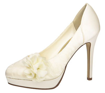 Brautschuhe High Heels Else by Rainbow Mimosa Ivory Satin mit Stickere