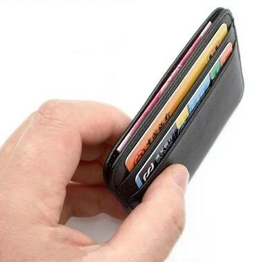 Genuine Leather Case Holder Credit Card ID Small Business Slim Wallet For Men