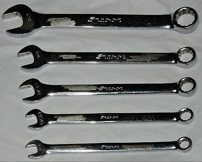 "Snap-On Lot of 5 12 Point SAE Flank Drive Short Combination Wrenches 1/4""-1/2"""