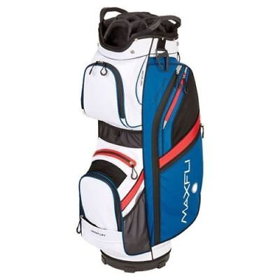 New Maxfli Honors Golf Cart Bag 14 Way Top Blue White Red Rain Hood
