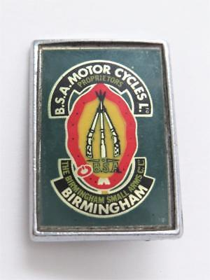 Vintage BSA Motorcycles Green Rectangle Logo Pin Birmingham Small Arms 2C
