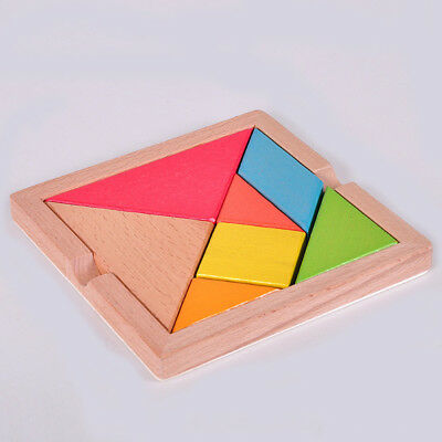 EP_ 1Pc Wooden IQ Game Jigsaw Intelligent Tangram Brain Teaser Puzzle Baby Kid T