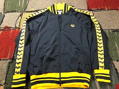 NICE VINTAGE 80s ARENA BLACK/YELLOW ZIP UP TRACK JACKET MENS M/SMALL