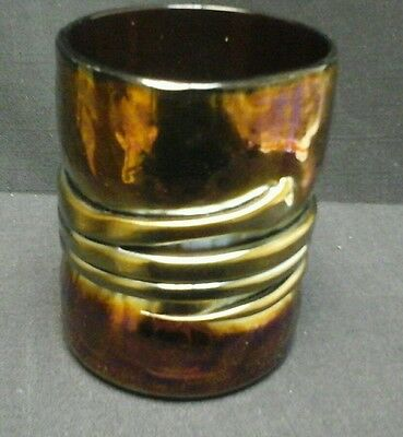 Vintage Hand Blown  Signed Irridescent Amethyst Carnival Art Glass Tumbler