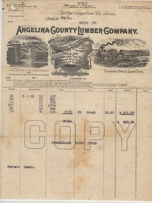 VTG ILLUSTRATED COMMERCIAL INVOICE-ANGELINA COUNTY LUMBER/ KELTYS TEXAS 1930's