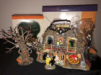 Department 56 Haunted Fun House and Tree Halloween Original Snow Village Retired