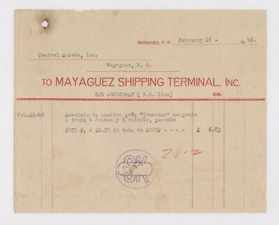Vintage Commercial Invoice / Mayaguez Shipping / Puerto Rico 1948