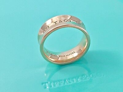 $550 Tiffany & Co 1837 Rose Rubedo Metal Concave Band Ring Sz 5 / 5.4gr. 181017A