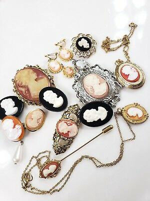 Lot Of Vintage Cameo Jewelry Pins Earrings Necklace Pendants