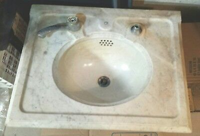 Antique Grey MARBLE SINK+BACKSPLASH~PORCELAIN BOWL& Wall Braces~LOCAL PKUP ONLY