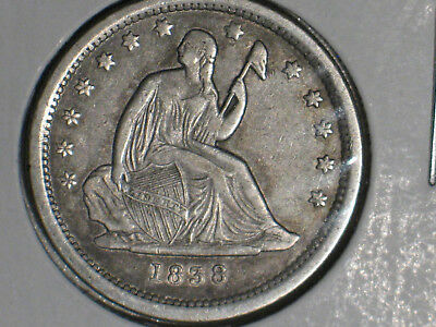 1838 Seated Liberty Quarter 'no Drapery' * Nice High Grade * Great Eye Appeal *