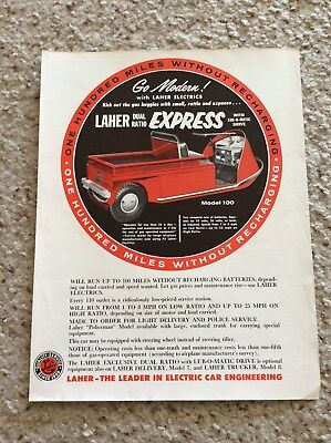 1950s  Laher- the leader in electric cars, original sales information.