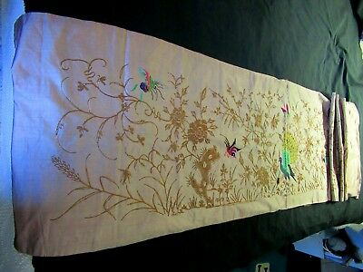 """Antique Vintage Tan Chinese Silk Embroidery Panel Runner 17 1/2 x 66"""""""
