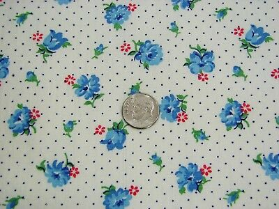 Vtg Early Quilt/Craft Cotton Very Pretty Small Blue Floral & Dots - 36 x 3.3 Yds