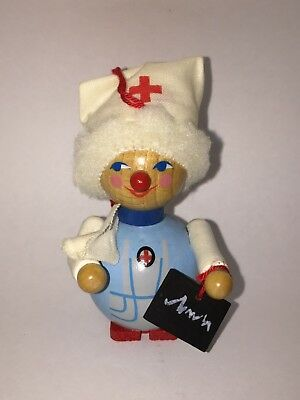 "Steinbach West Germany 3 1/2"" Nurse Wooden Christmas Ornament w/ Official Seal"