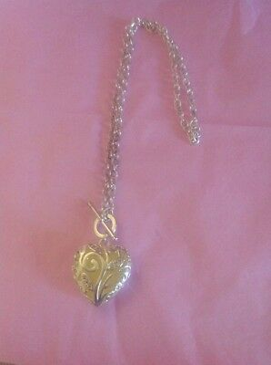 Sterling Silver Heart Toggle Crystal /Enamel Necklace 20""