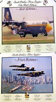 Blue Angels over Chicago 2000 & Fat Albert Posters Laminated Signed Kelleher