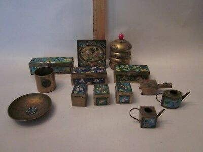 Chinese enamel brass antique tray tea caddy stamp box holder cloisonne plate art