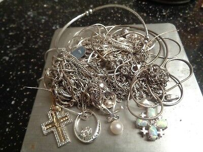 Sterling Silver Scrap or Not lot of Tangled Necklaces SOME with Pendants !!!!!