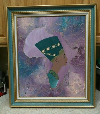 JUNE MARIE AFRICAN Woman Original Painting on Canvas Framed