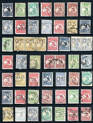 Australia a Page of Wounded Kangaroo Stamps Average to Seconds