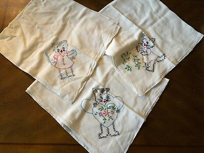 VTG lot of 3 cotton Hand Embroidery Cat Kitty pattern Linen tea towel Cloth