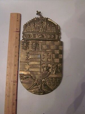 Brass wall plaque hanger coat of arms medieval dragon eagle knights  lion