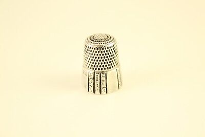 Antique Simon Bros .925 Sterling Silver Paneled Sewing Thimble May 1889 Patent