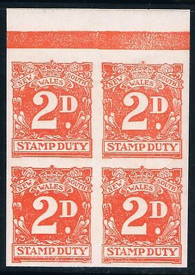Australia NSW  2d Imperforate Revenue Duty Tax Stamps MNH Block.
