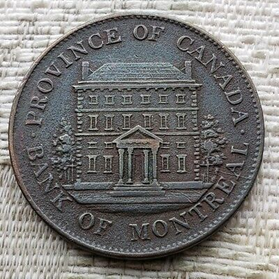 Canada 1844 Bank Of Montreal Front View Half Penny Token  Breton 527 PC 1 B6