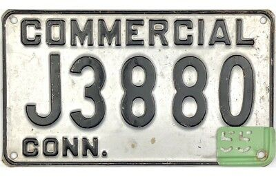 1951 Undated Connecticut COMMERCIAL License Plate #J3880 W/ 1955 Tab No Reserve