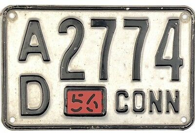 1954 Base Connecticut License Plate #AD2774 With 1956 Tab No Reserve
