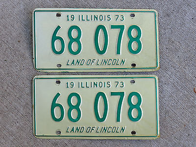 1973 Illinois License Plate Vintage Matched Pair (two) 73