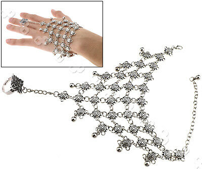Vintage Handlet Hand Charm Bracelet With Ring Slave Chain Antique Silver Women