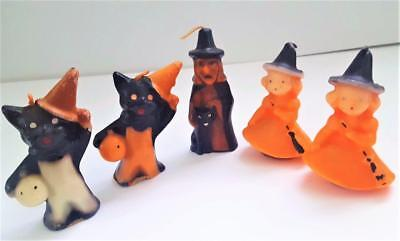 Vintage Lot of 5 Halloween Gurley Novelty Candles, Witch, Black Cats,Witch Girls