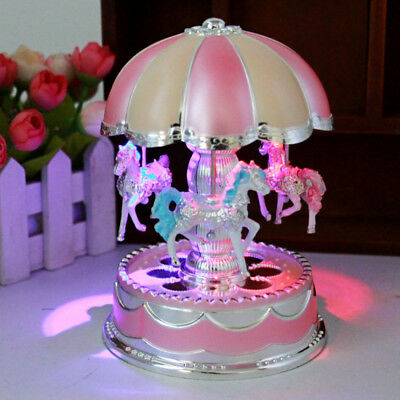 LED Horse Carousel Music Box Toys Musical Girl Boy Baby Kids Birthday Toy Gifts