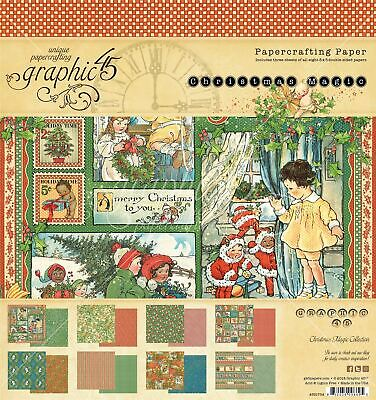 """Graphic 45 Double-Sided Paper Pad 8""""X8"""" 24/Pkg-Christmas Magic, 8 Designs/3 Each"""