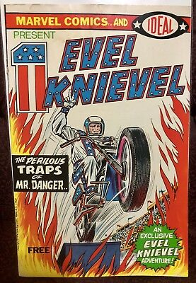 Vintage 1974 Evel Knievel Comic Book (Free Marvel Comics and Ideal Edition)
