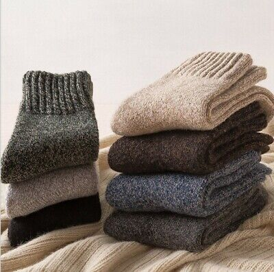 5 Pack Mens 90%Wool Cashmere Fleece Socks Heavyweight Cushioned Thermal Thicken