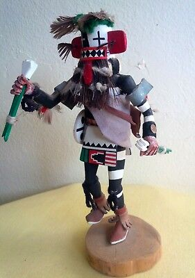 Very Old Hopi Hand Carved Painted Mostly Cottonwood Kachina Doll Signed 9 1/2""