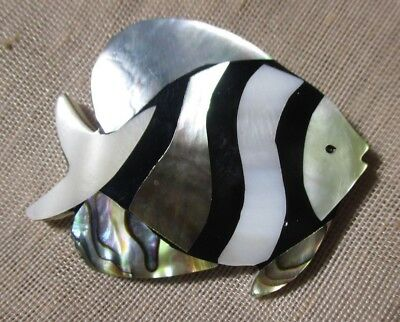 XL BEAUTIFUL WHITE MOTHER OF PEARL & ABALONE INLAY STRIPED FISH BUTTON  1-3/4 in