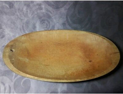 Old Antique Wooden Primitive Oblong/oval Trencher Dough Bowl~ Rustic Hand Carved