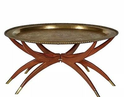 Vintage Mid Century 29 Br Tray Table With Folding Spider Legs Coffee