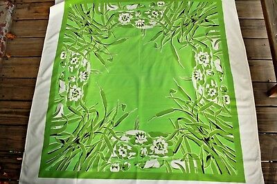 Bright Vintage Green Cattails and Lily Pad Print Tablecloth