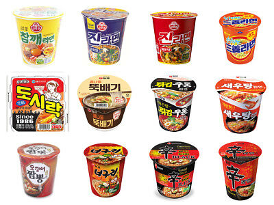 Korea Instant Cup Ramen and Noodle Collection 12Types Various Flavors Free Ship