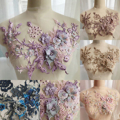 3D Flower Embroidery Bridal Dress Lace Applique Pearl Beaded Tulle DIY Wedding