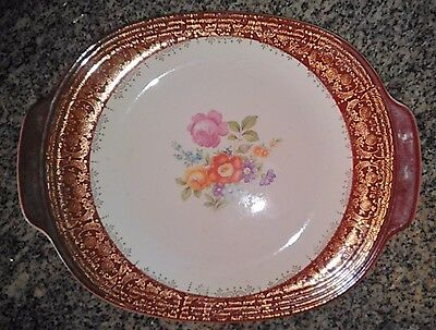Meissen Rose Maroon Emperor 22K Gold Serving Platter + 19 Plates, Dishes & Bowls