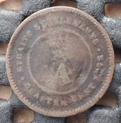 1872 British Straits Settlement 1/4 cent km# 7  - a great space filler