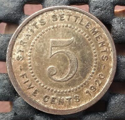 1920 British Straits Settlement 5 cent km# 34  - a great space filler